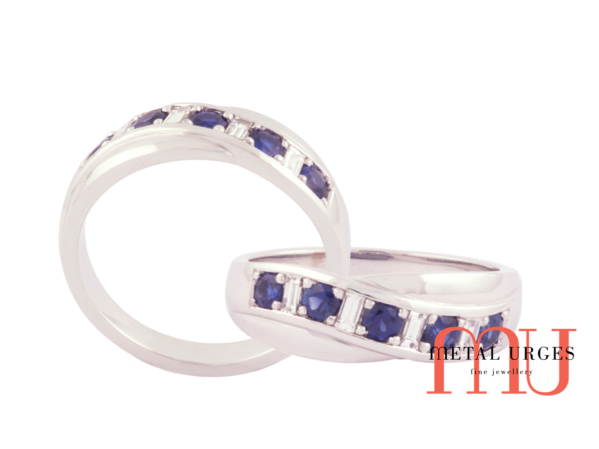 Blue sapphire and baguette diamond 18ct white gold wedding ring
