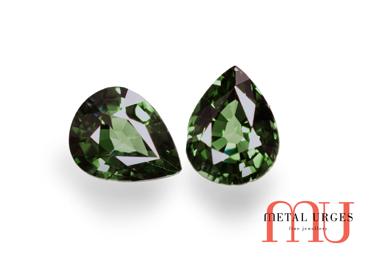 Pair of pear-cut green sapphires – Jewellers Hobart, Melbourne