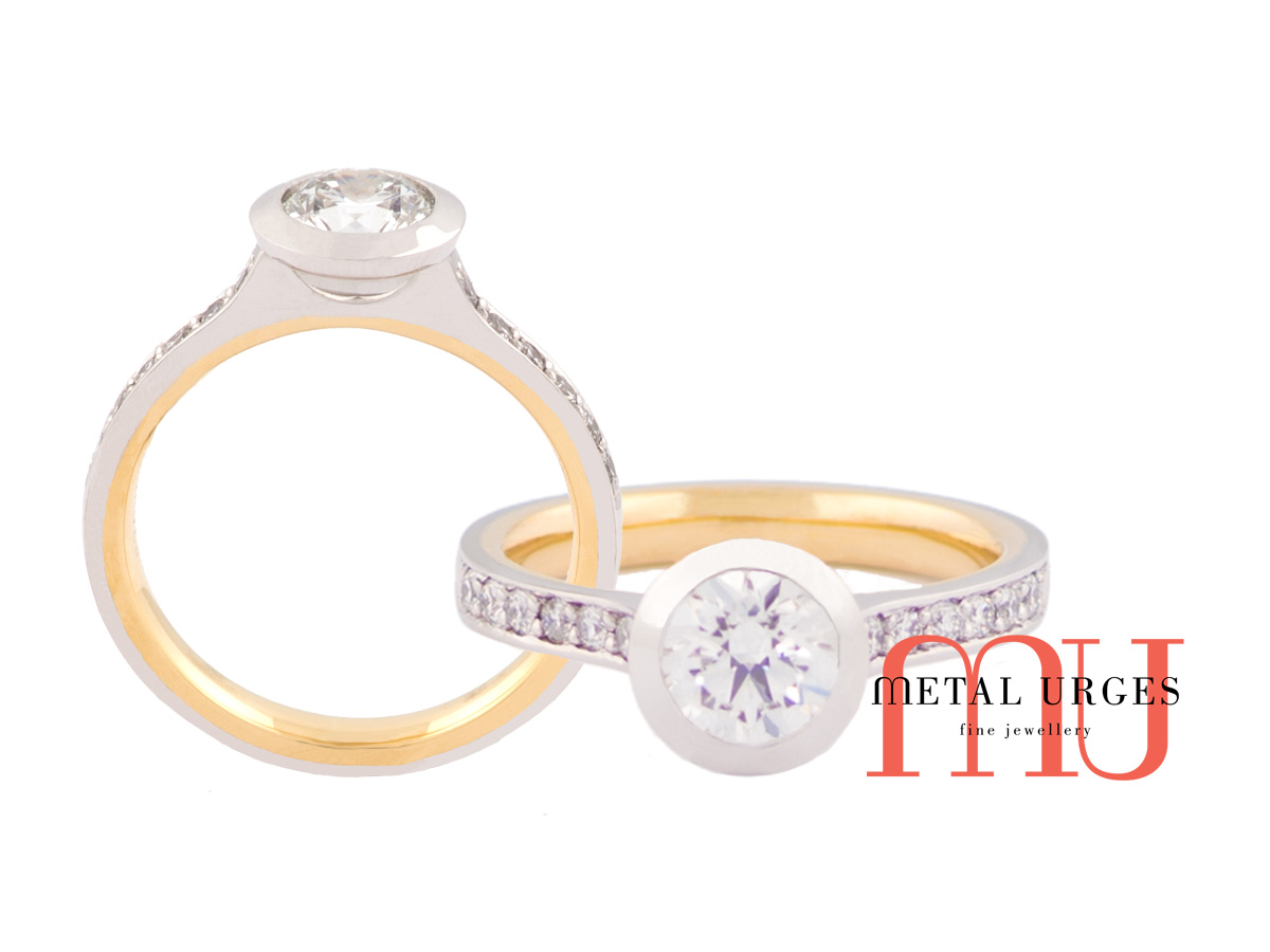 Diamond engagement rings Melbourne, 18 ct white and yellow gold bezal set white diamond