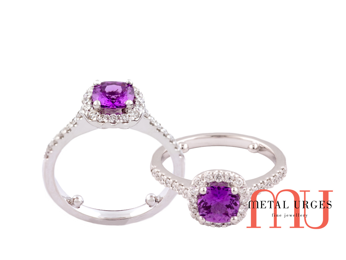Australia Sapphire purple, set in a white gold cluster setting, Jewellers Melbourne