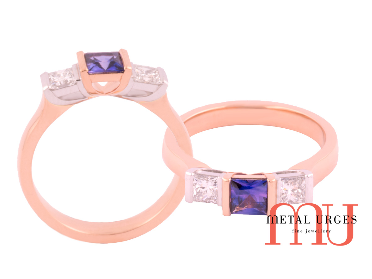 Purple Sapphire white diamond side settings and rose gold band
