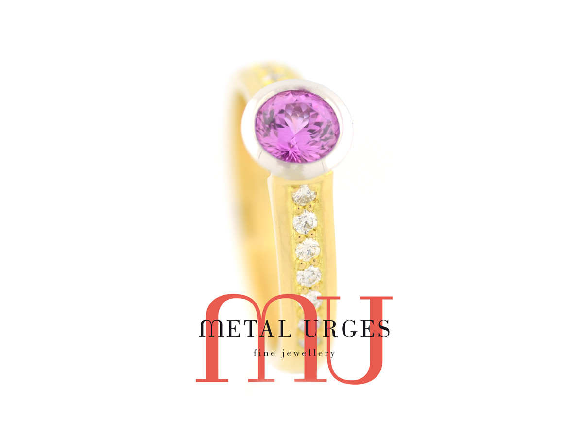 Unique pink sapphire, diamond and 18ct gold engagement ring. Custom made in Australia.