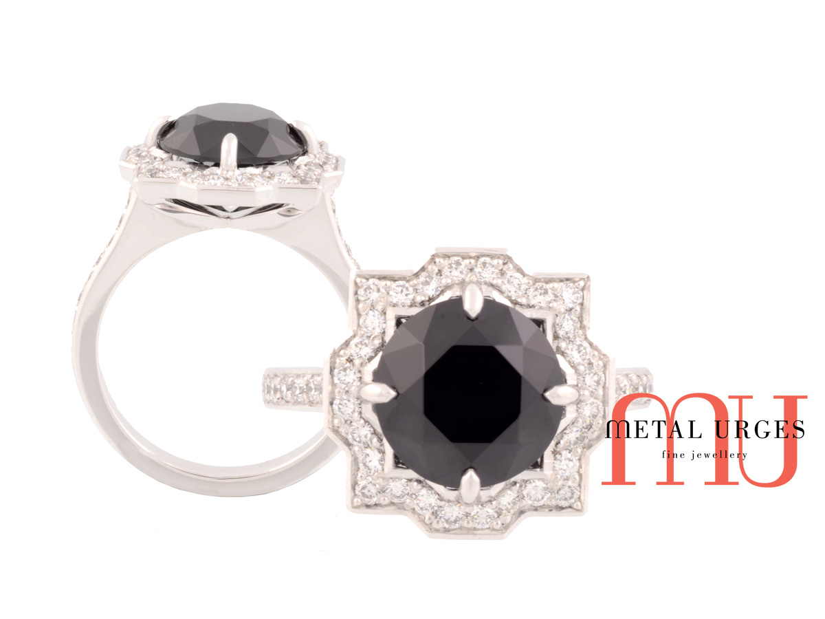 Art deco unique black spinel and white diamond 18ct white gold ring. Custom made in Australia.