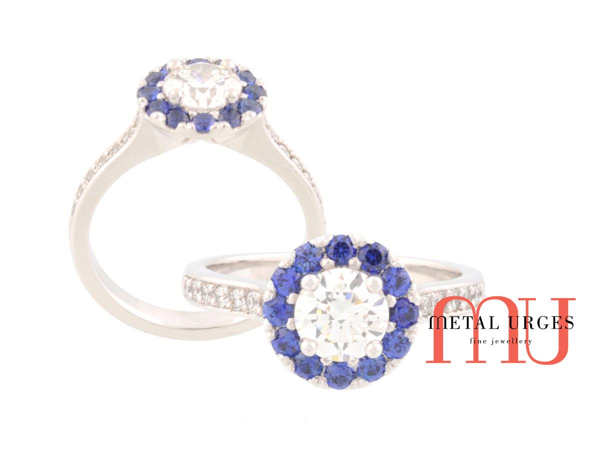 Art Deco white diamond and Sri Lankan blue sapphire 18ct