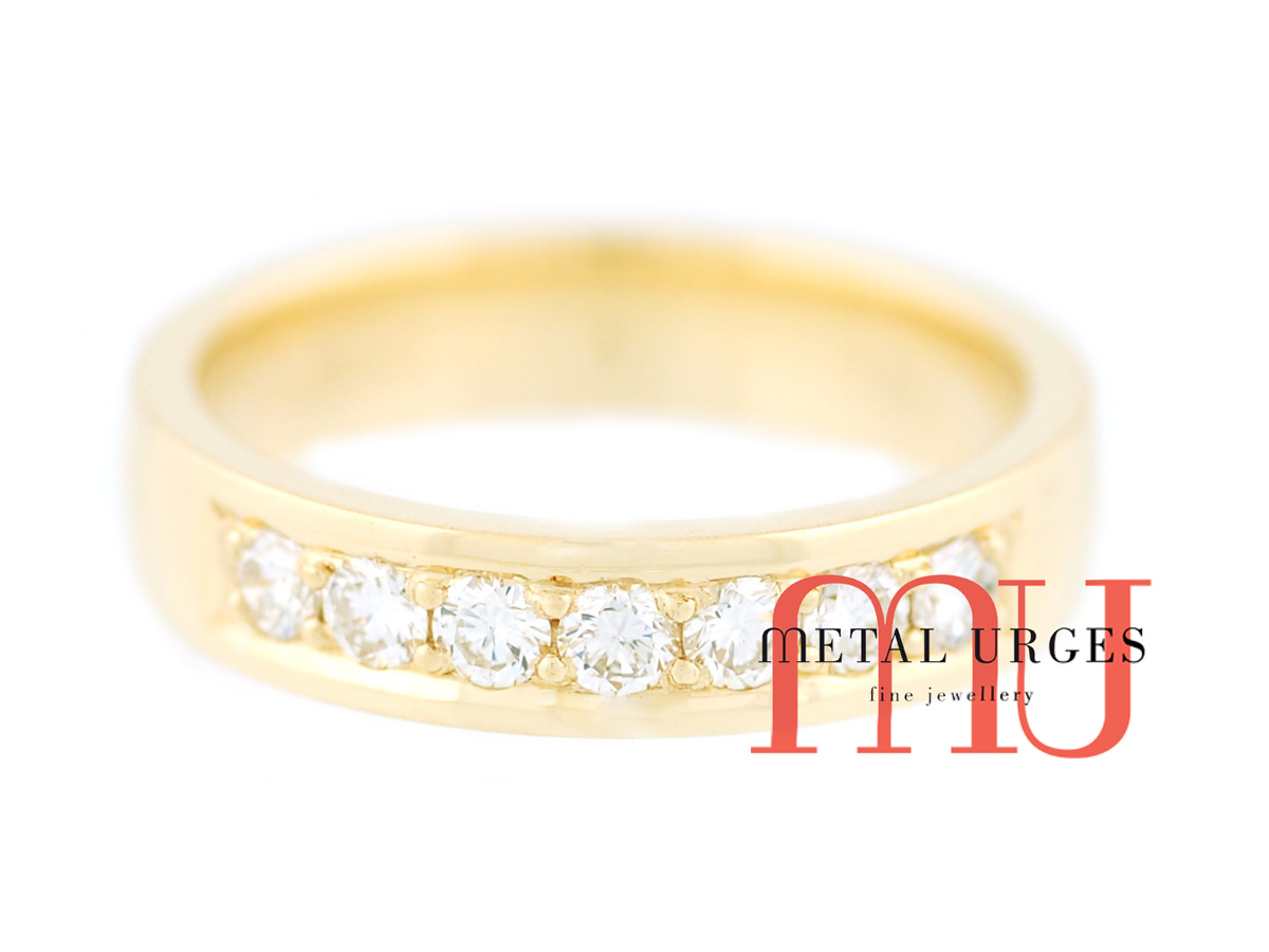 White diamond and 18ct yellow gold wedding ring. Custom made in Australia.
