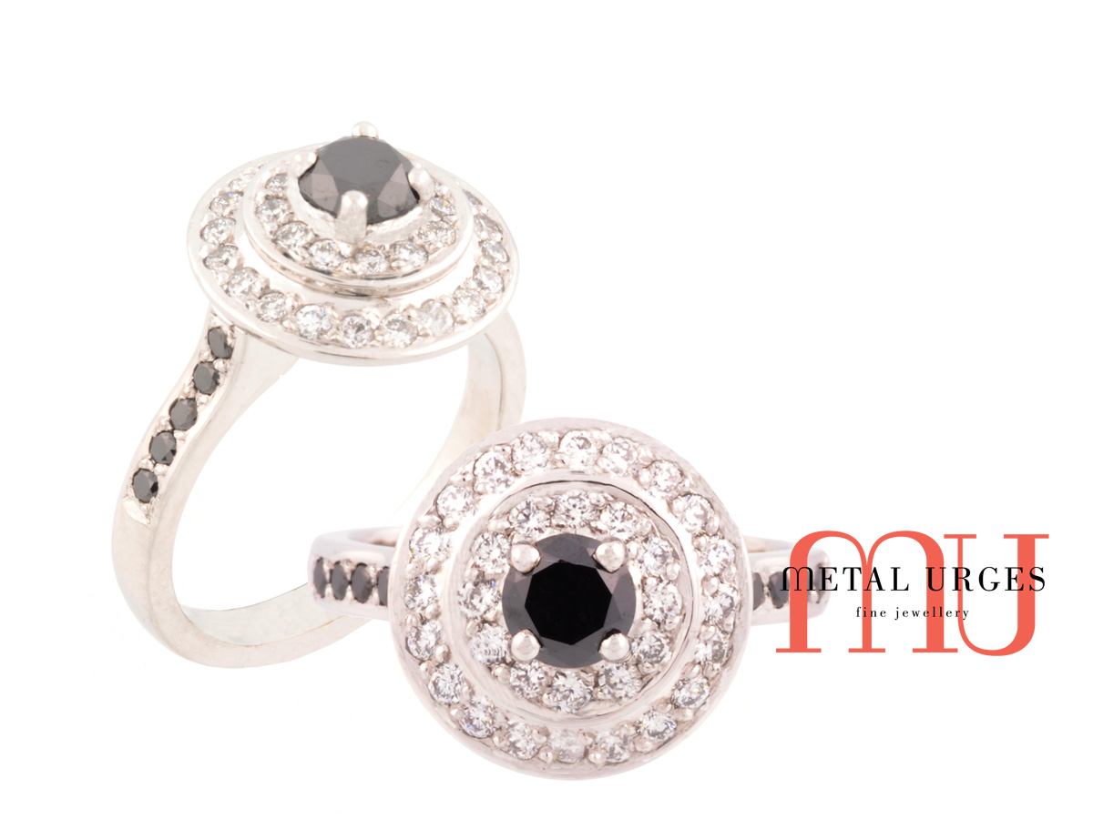 Round brilliant cut black and white diamond engagement ring in 18ct white gold. Custom made in Australia.
