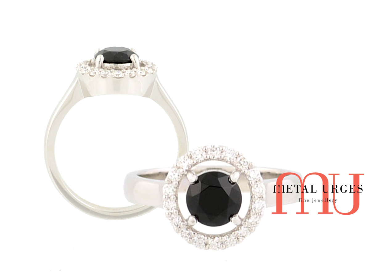 Black spinel, white diamond halo ring in 18ct white gold. Custom made in Australia.