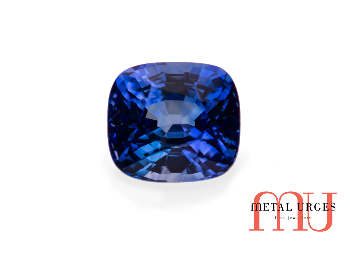 ring cushion cut long il listing engagement blue sapphire