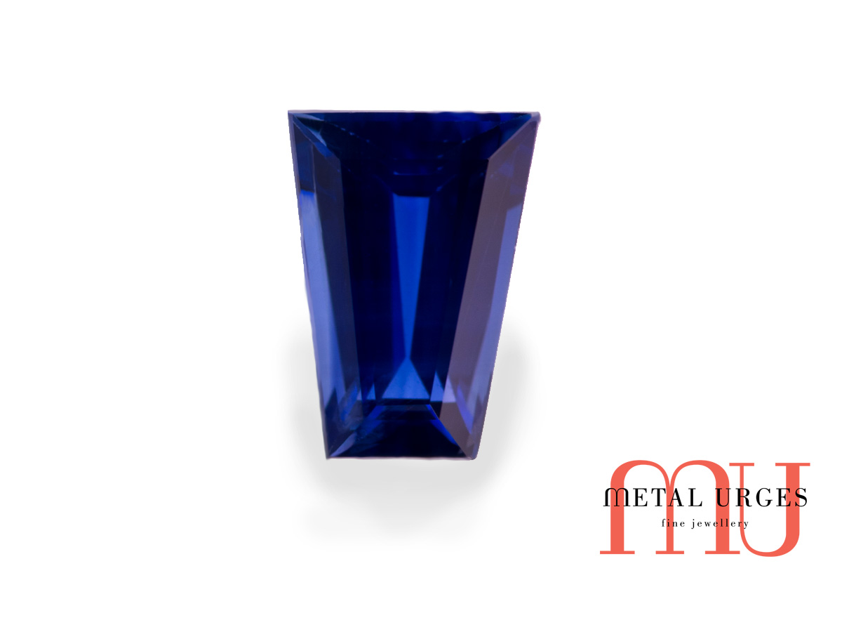 natural tapered baguette cut blue sapphire