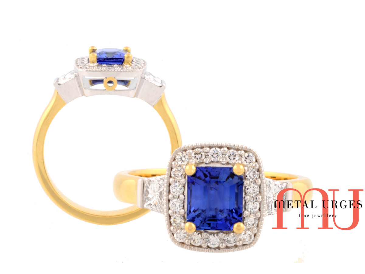 Vintage inspired blue sapphire and white diamond 18ct gold ring. Custom made in Australia.
