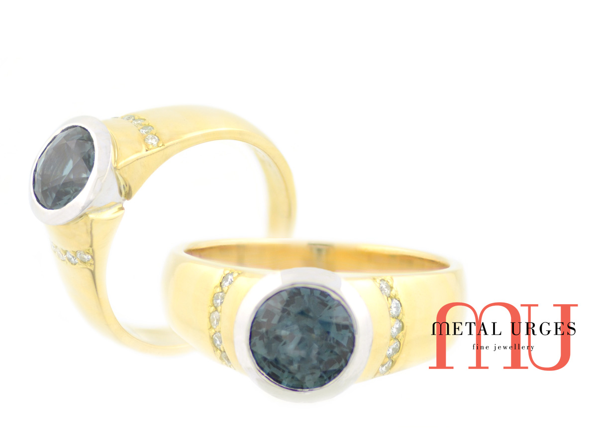 Blue sapphire and white diamond ring in 18ct gold. Custom made in Australia.