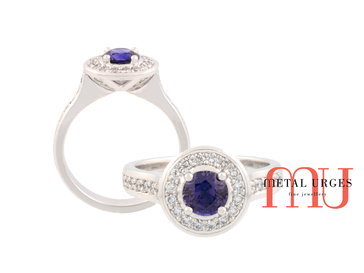 Vibrant natural blue sapphire and platinum engagement ring. Custom made in Australia.