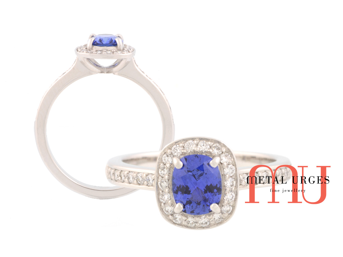 Vibrant blue sapphire and diamond ring 18ct white gold. Custom made in Australia.