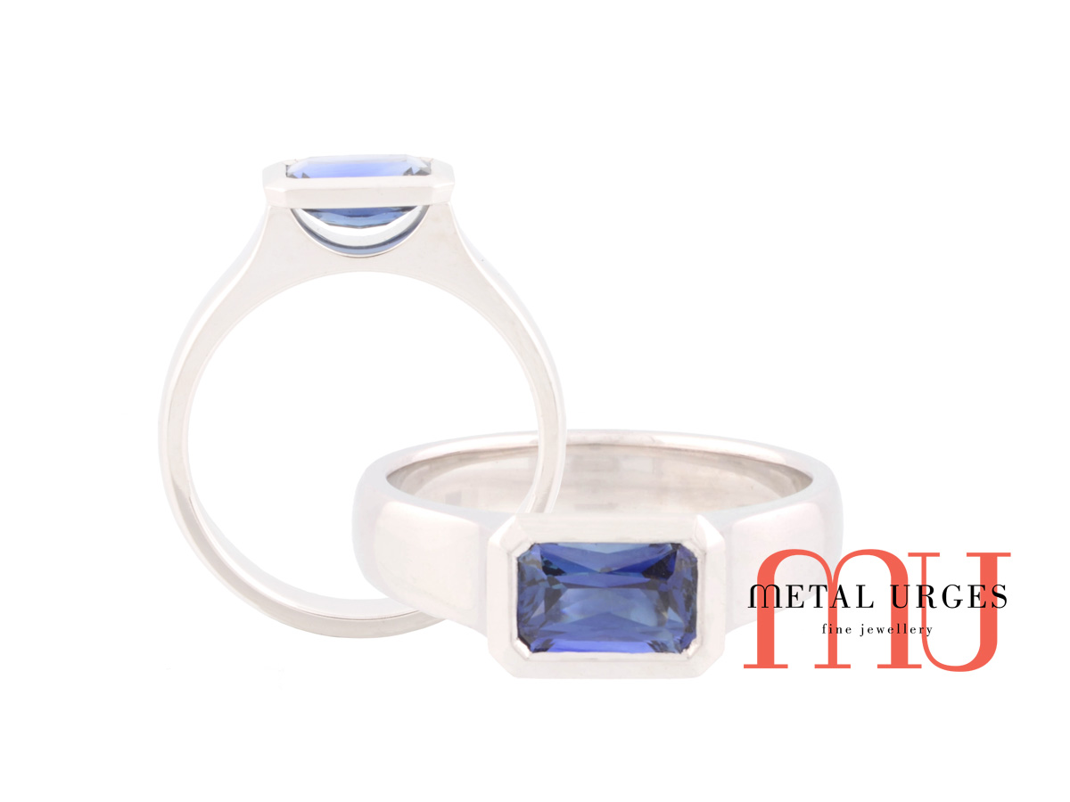 Blue sapphire and 18ct white gold engagement ring. Custom made in Australia.