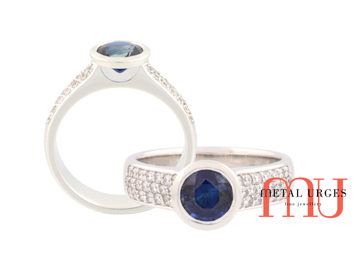Jewellers Hobart, Deep blue sapphire and white diamond engagement ring in platinum. Custom made in Australia.