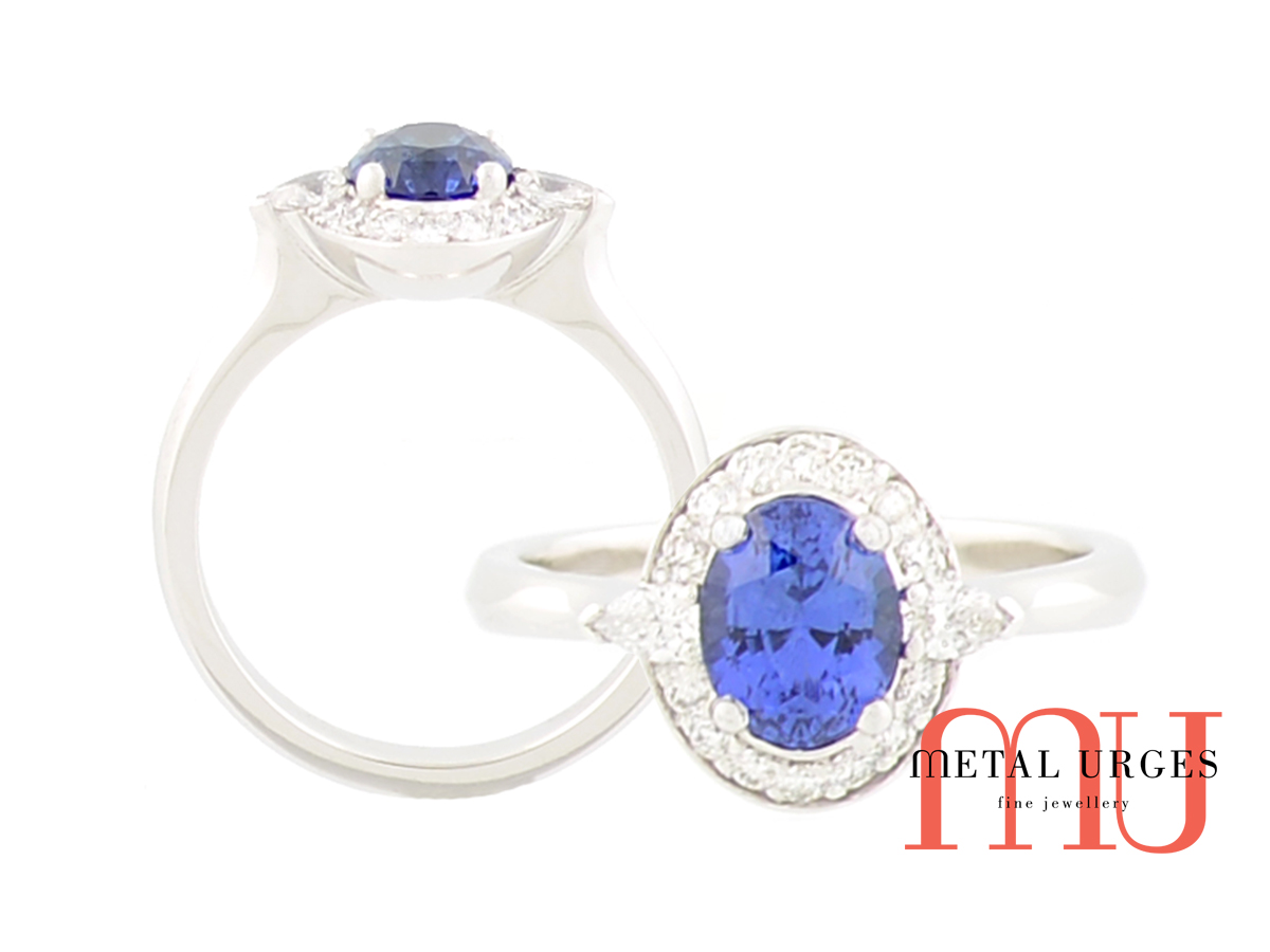 Blue sapphire, white diamond and 18ct white gold cluster ring. Custom made in Australia.