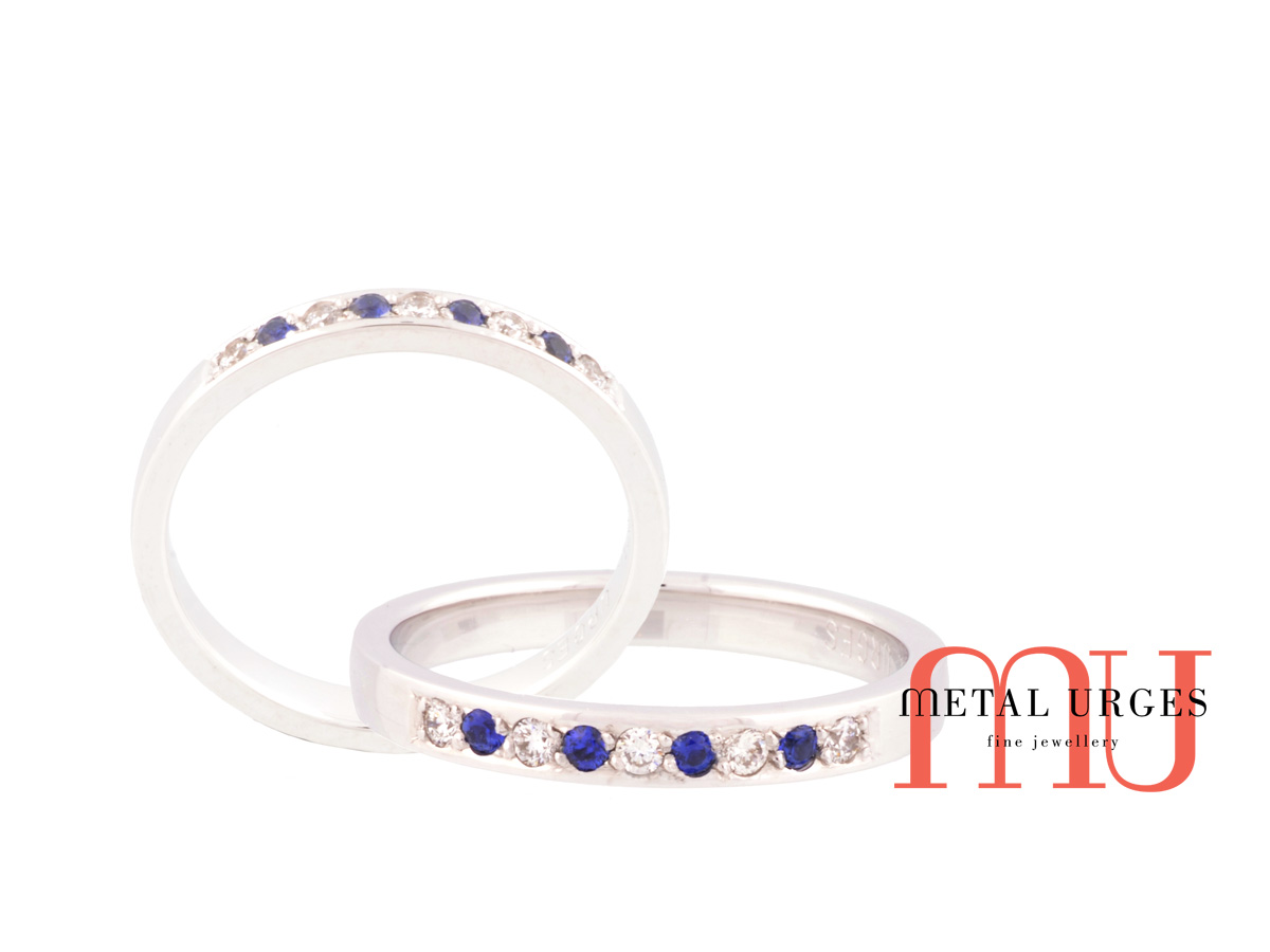 Blue sapphire and round white diamond wedding ring in 18ct white gold. Custom made in Australia.