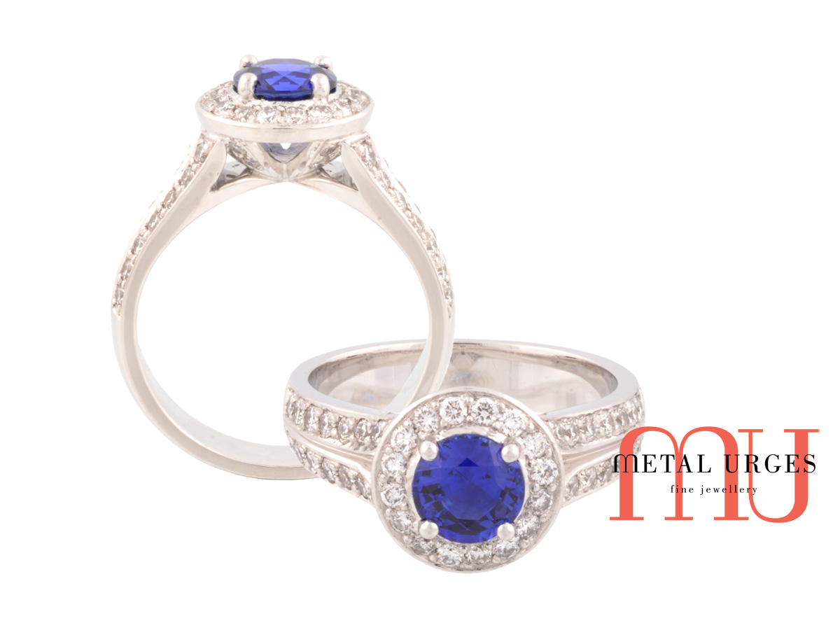 Natural blue sapphire and white diamond moderin cluster engagement ring. Custom made in Australia.