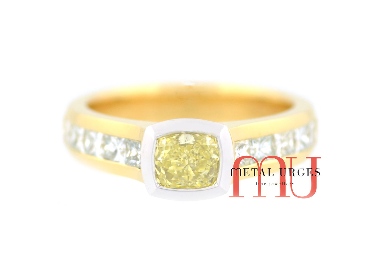 Canary yellow and white diamond engagement ring. Custom made in Australia.