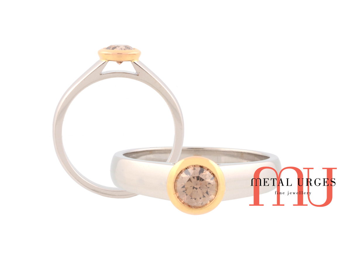 Champagne diamond engagement ring in 18ct white and yellow gold. Custom made by hand in Australia.