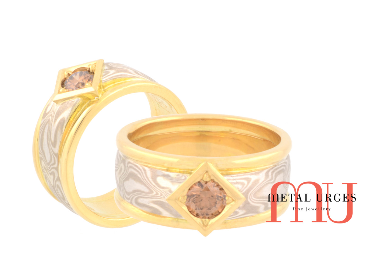 Champagne Diamond Engagement Ring With 18ct Yellow Gold