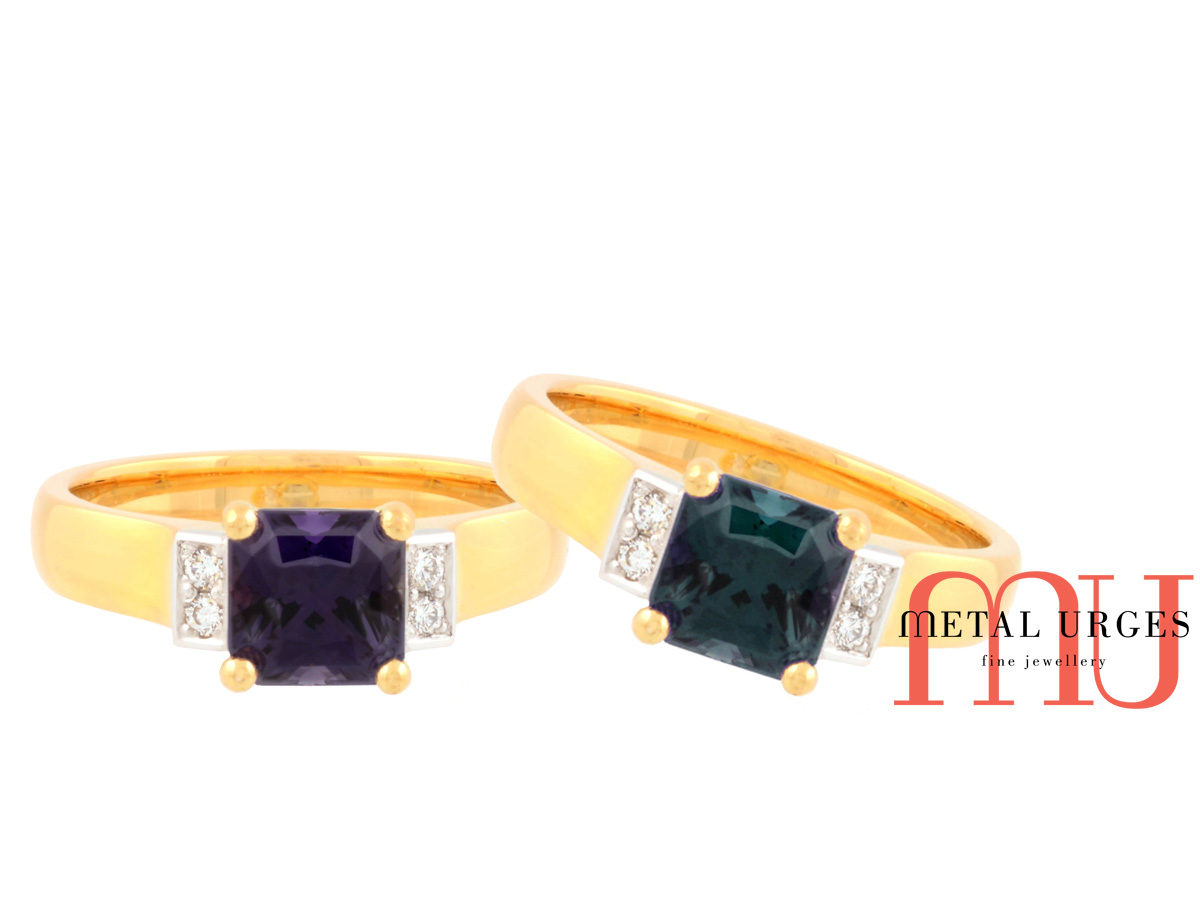 Rare alexandrite colour change engagement ring with white diamonds and 18ct gold. Custom made in Australia.
