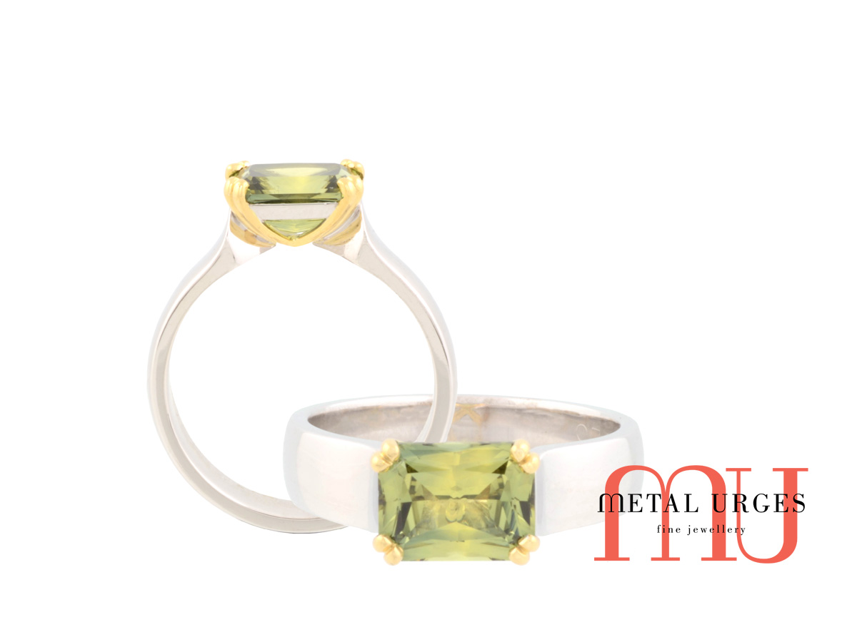 Green sapphire and 18ct gold four claw engagement ring. Custom made in Australia.