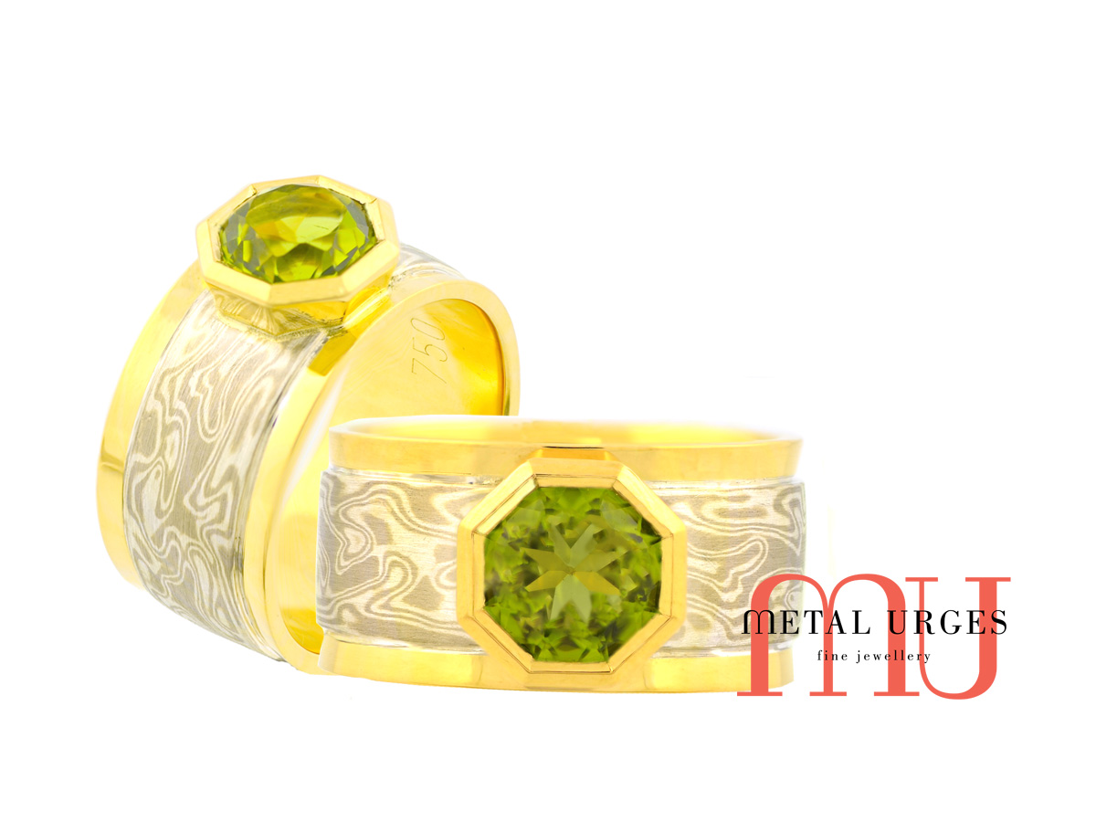 Green sapphire dress ring with an 18ct yellow gold and Mokume Gane. Custom made in Australia.