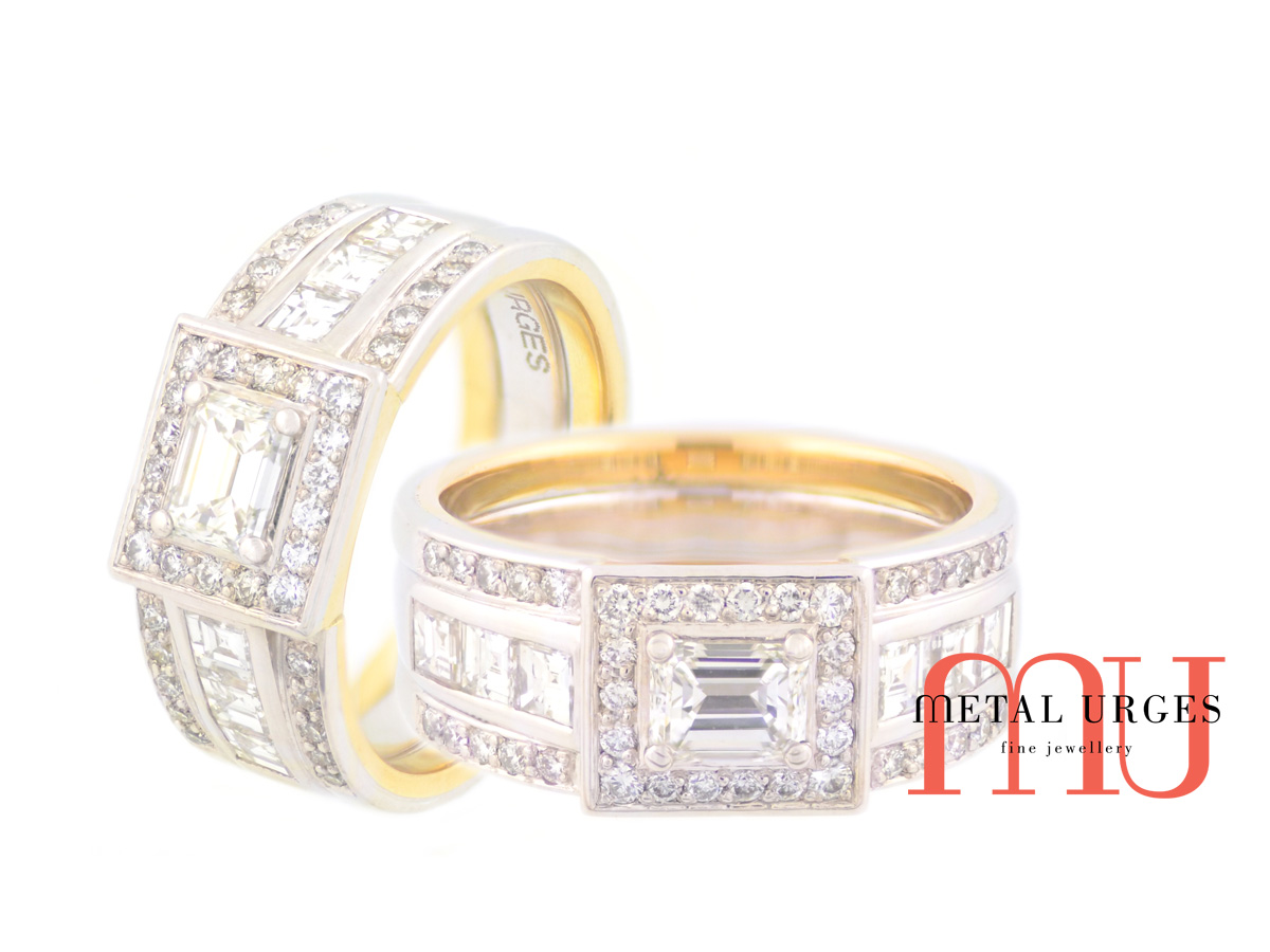 Emerald cut and princess cut white diamond engagement ring. Custom made in Australia
