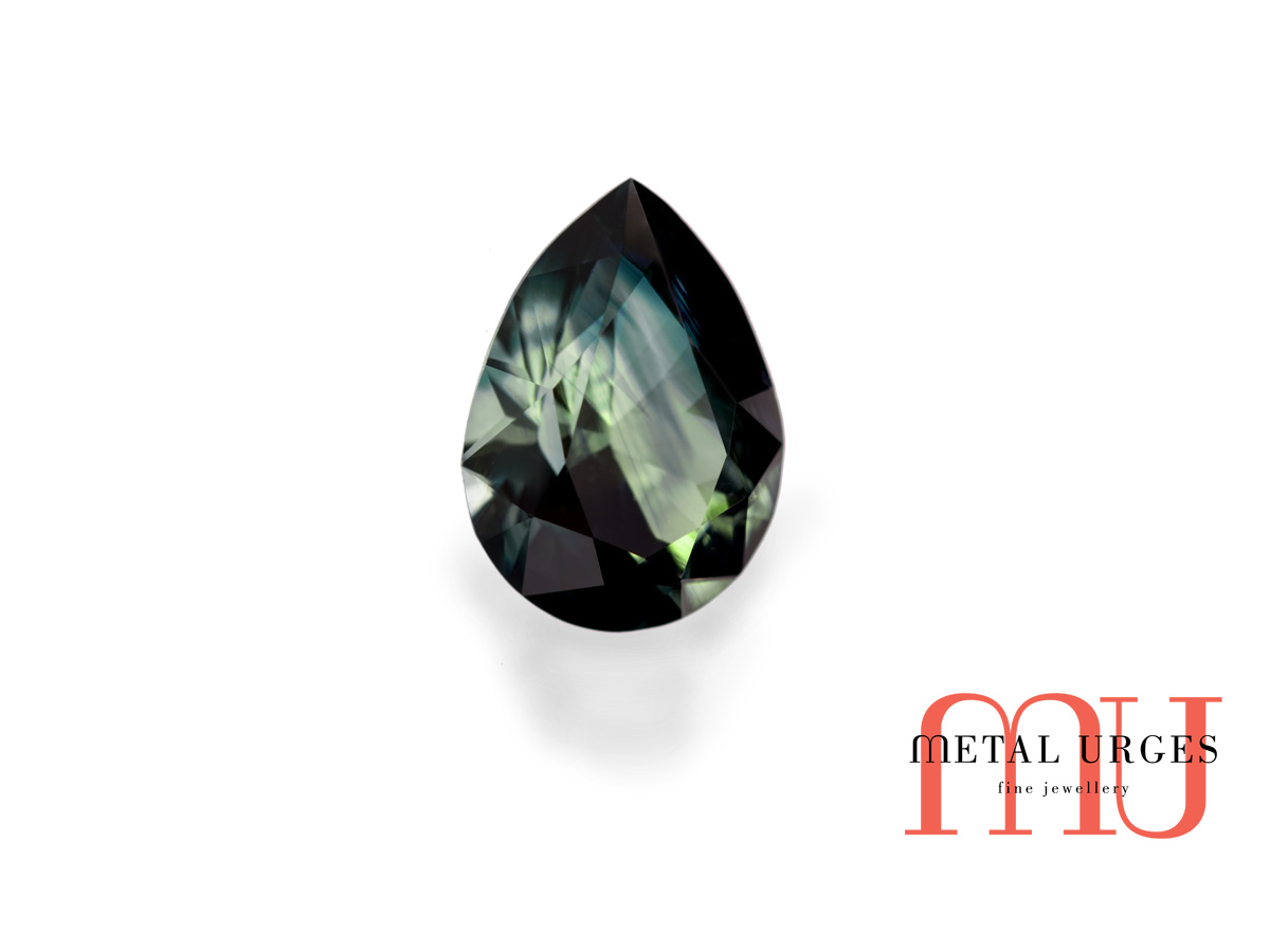 Natural loose green sapphire, pear cut