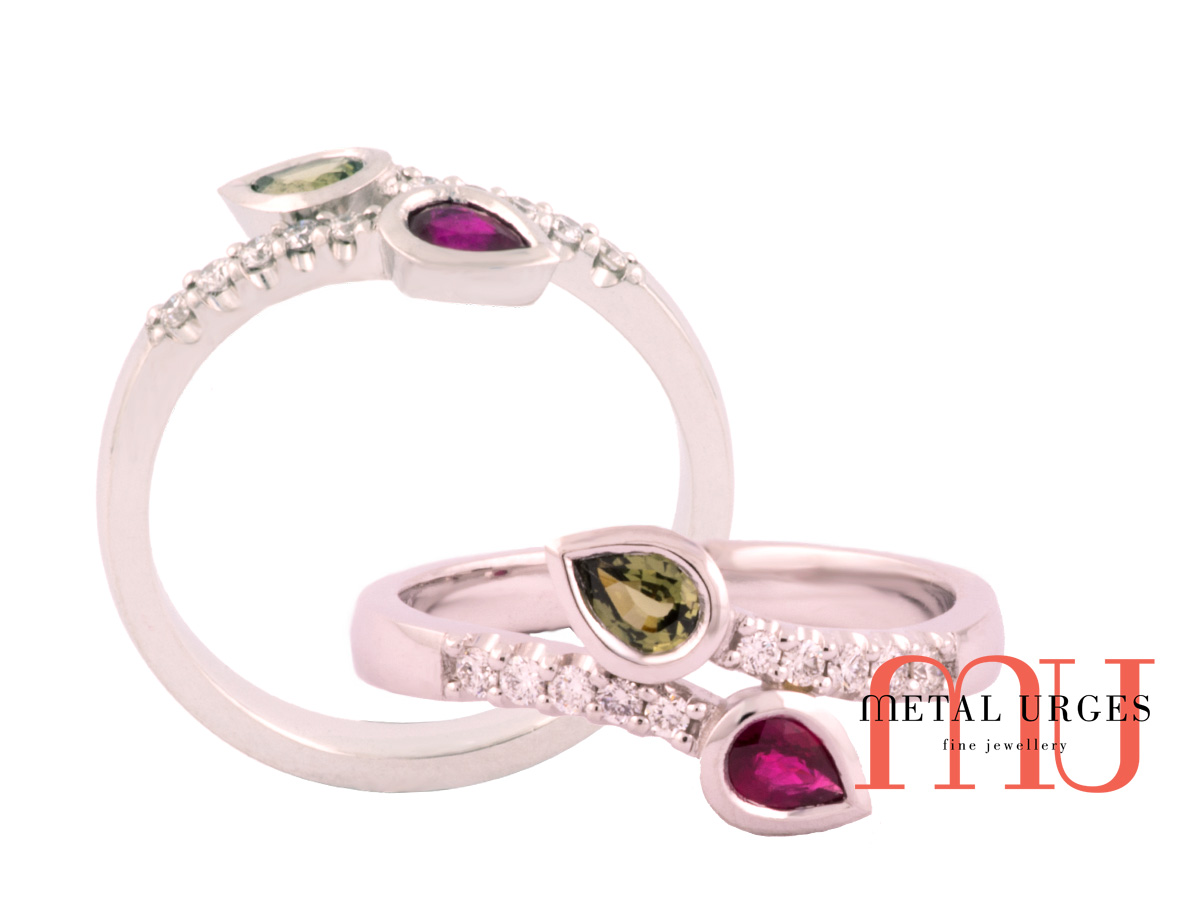Pear shaped ruby and green sapphire with diamonds engagement ring