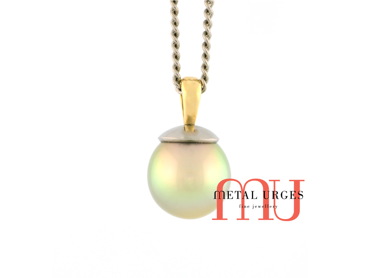 Jewellers Hobart, Golden green pearl pendant. Custom made in Australia.