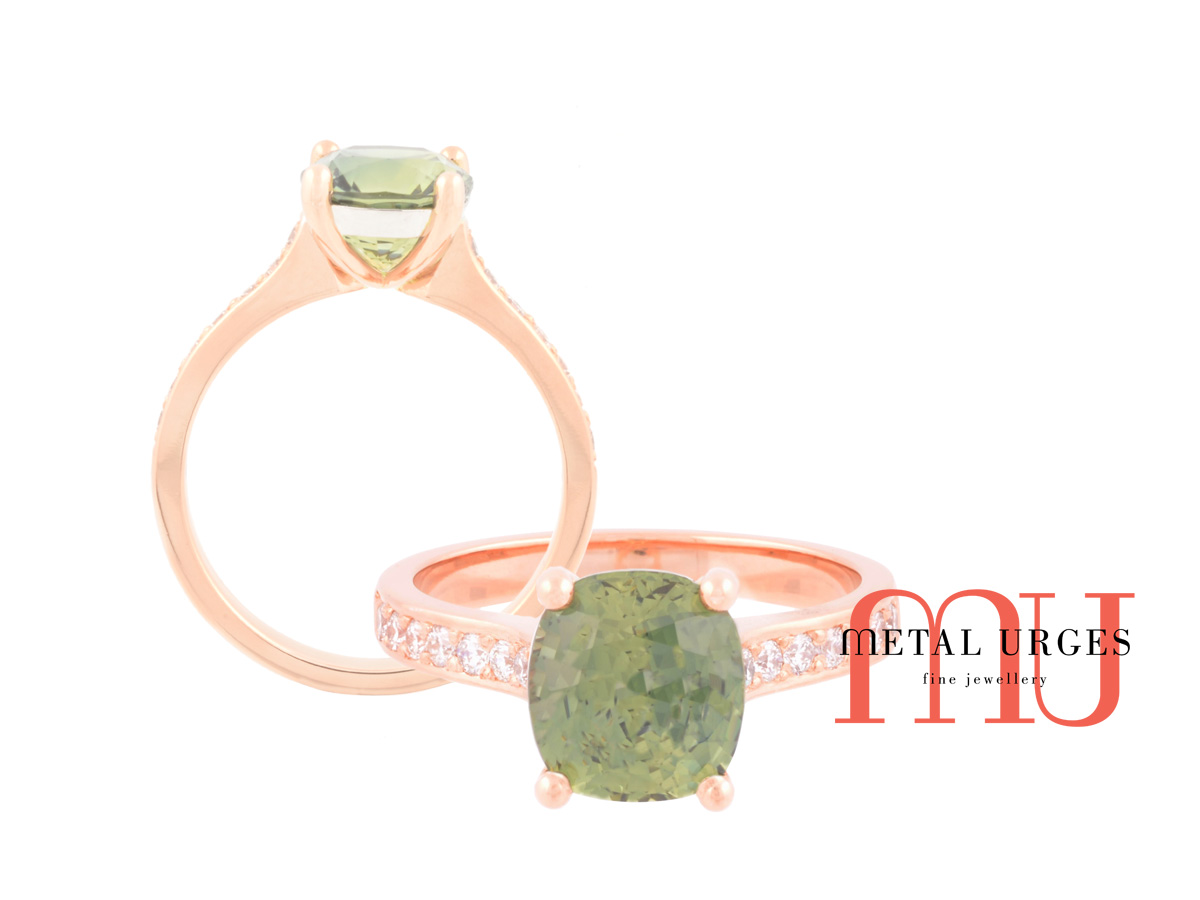 Green sapphire, white diamonds and 18ct rose gold engagement ring. Custom made in Australia.