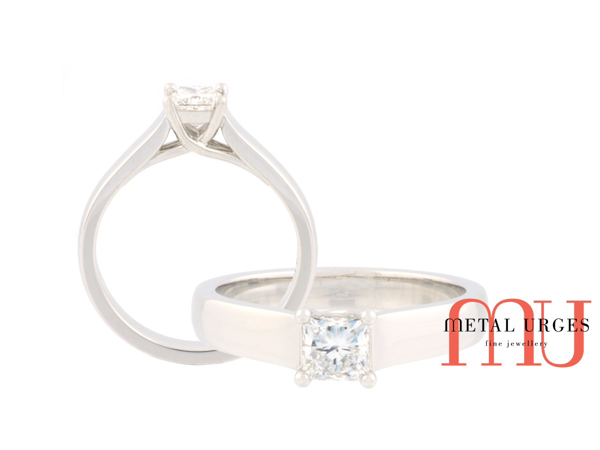 Tiffany inspired 'Lucinda' princess cut white diamond engagement ring in 18ct white gold. Handmade in Hobart.