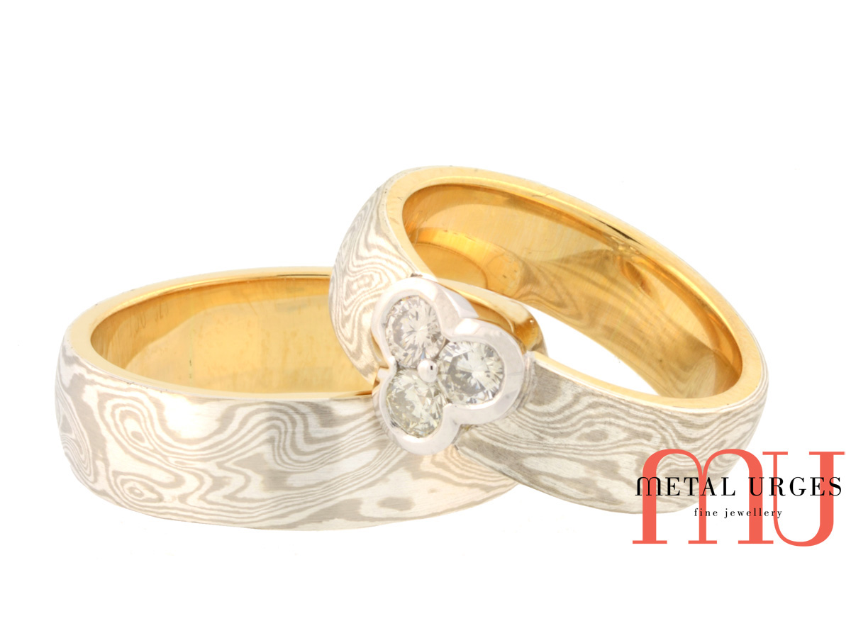 Mokume gane and white diamond his and hers matching engagement and wedding bands. Custom made in Australia.
