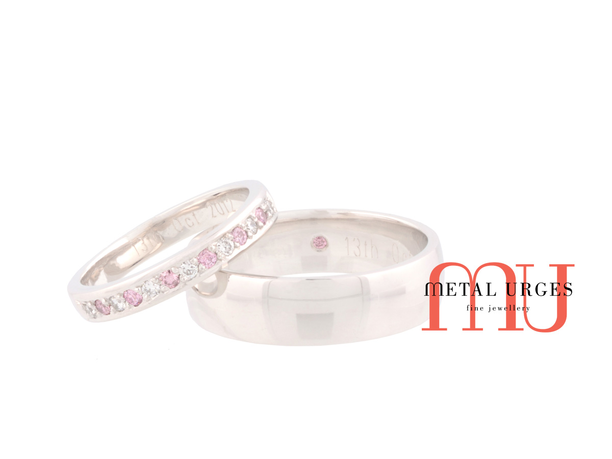 Rare Australian Argyle pink and white diamond his and hers platinum wedding rings. Custom made in Australia.