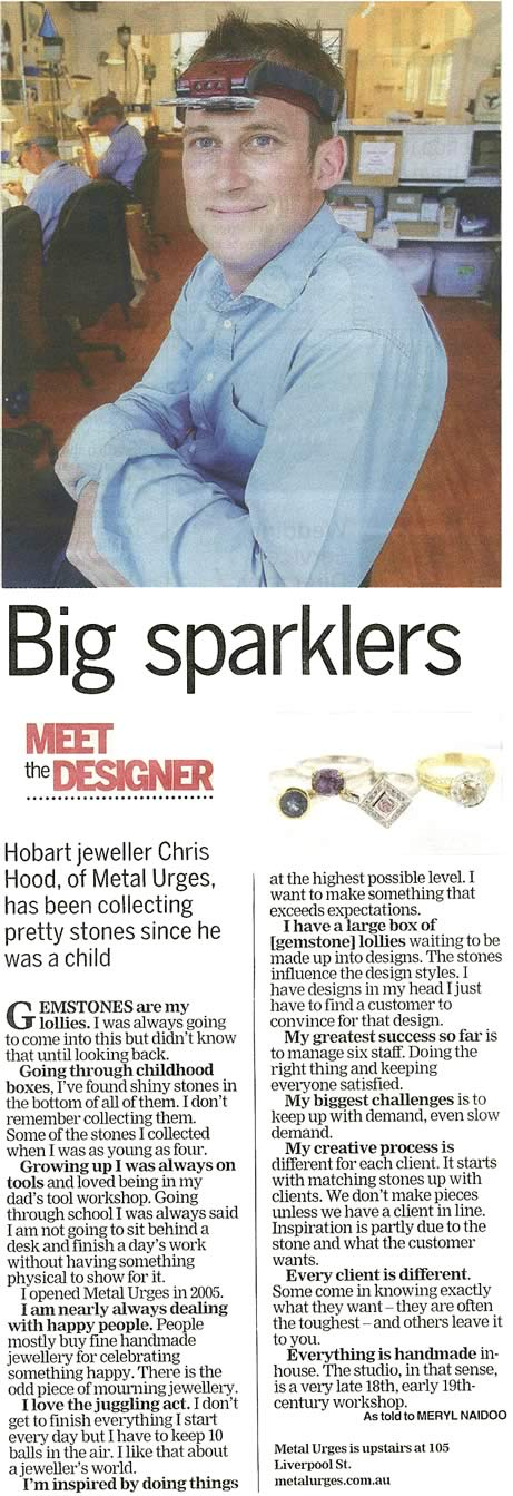 Big Sparklers - Meet the designer, The Mercury, Style, Tuesday 28 February 2012