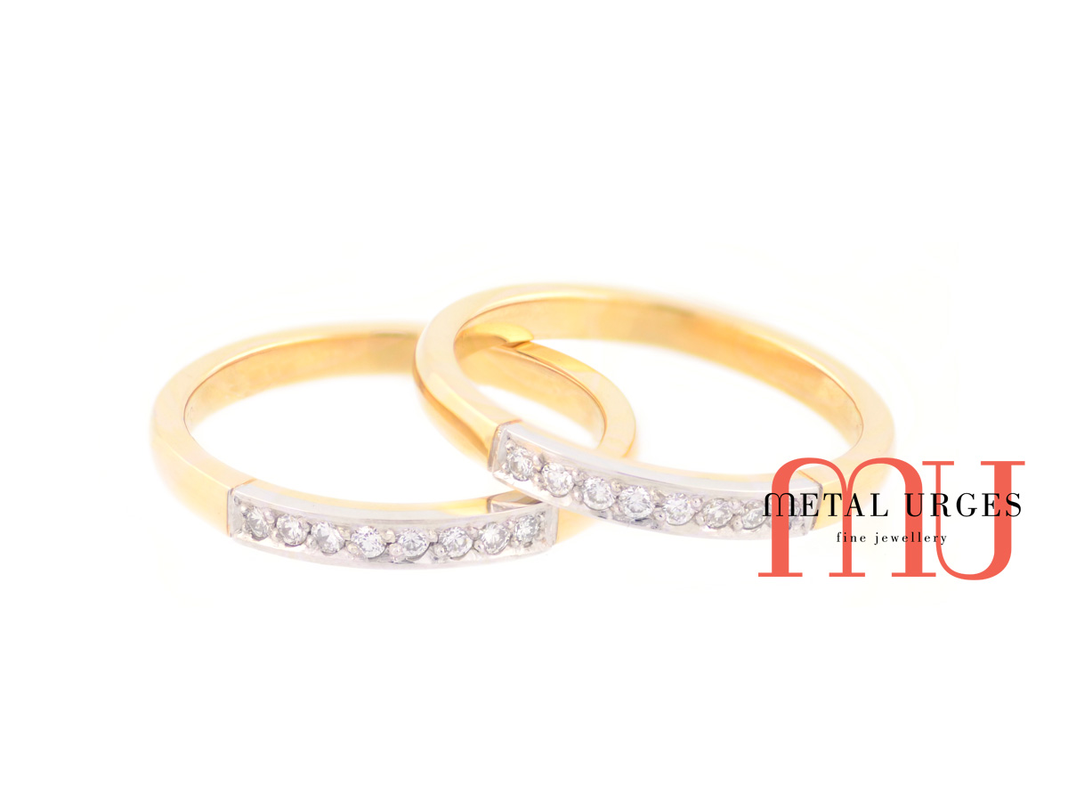 Yellow and white gold twin wedding rings with white diamonds. Custom made in Australia.