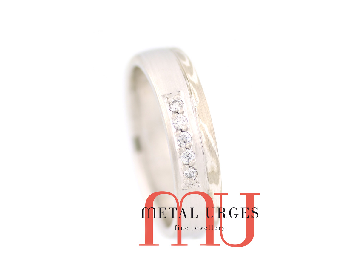 18ct white gold and silver Mokume Gane and white diamond ring. Custom made in Australia.