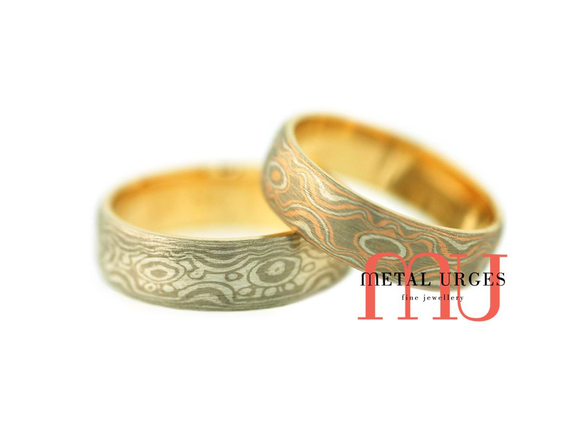 Mokume gane wedding rings Custom made in Australia Mokume gane