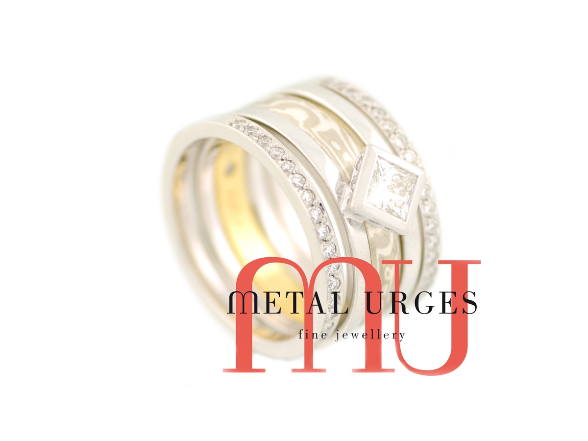 Unique four ring stack featuring a GIA certified square princess cut white diamond and Mokume Gane. Custom made in Australia.