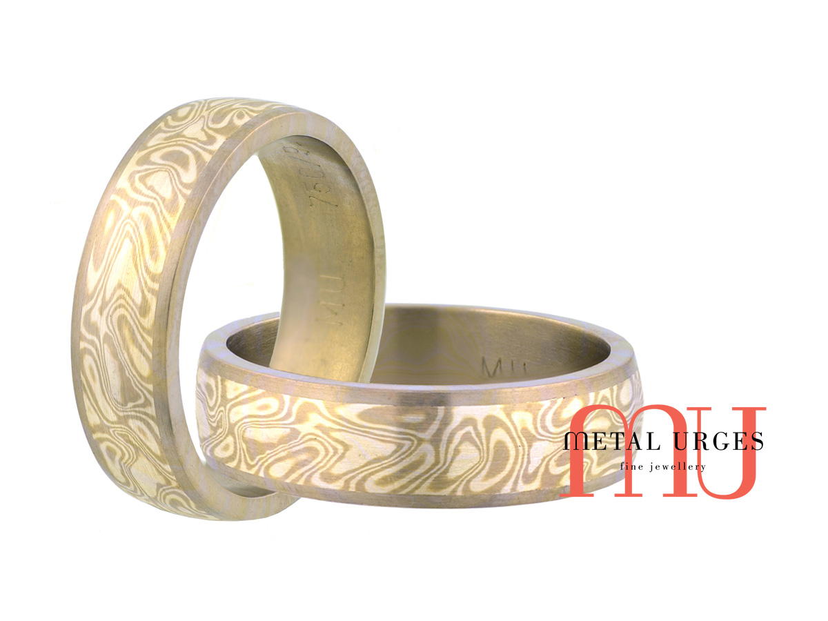 Titanium, 18ct white gold and silver Mokume Gane mens wedding ring. Custom made in Australia.
