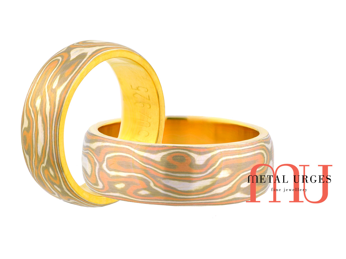 Mokume Gane wedding band in 18ct rose, white, yellow gold and silver. Custom made in Australia.
