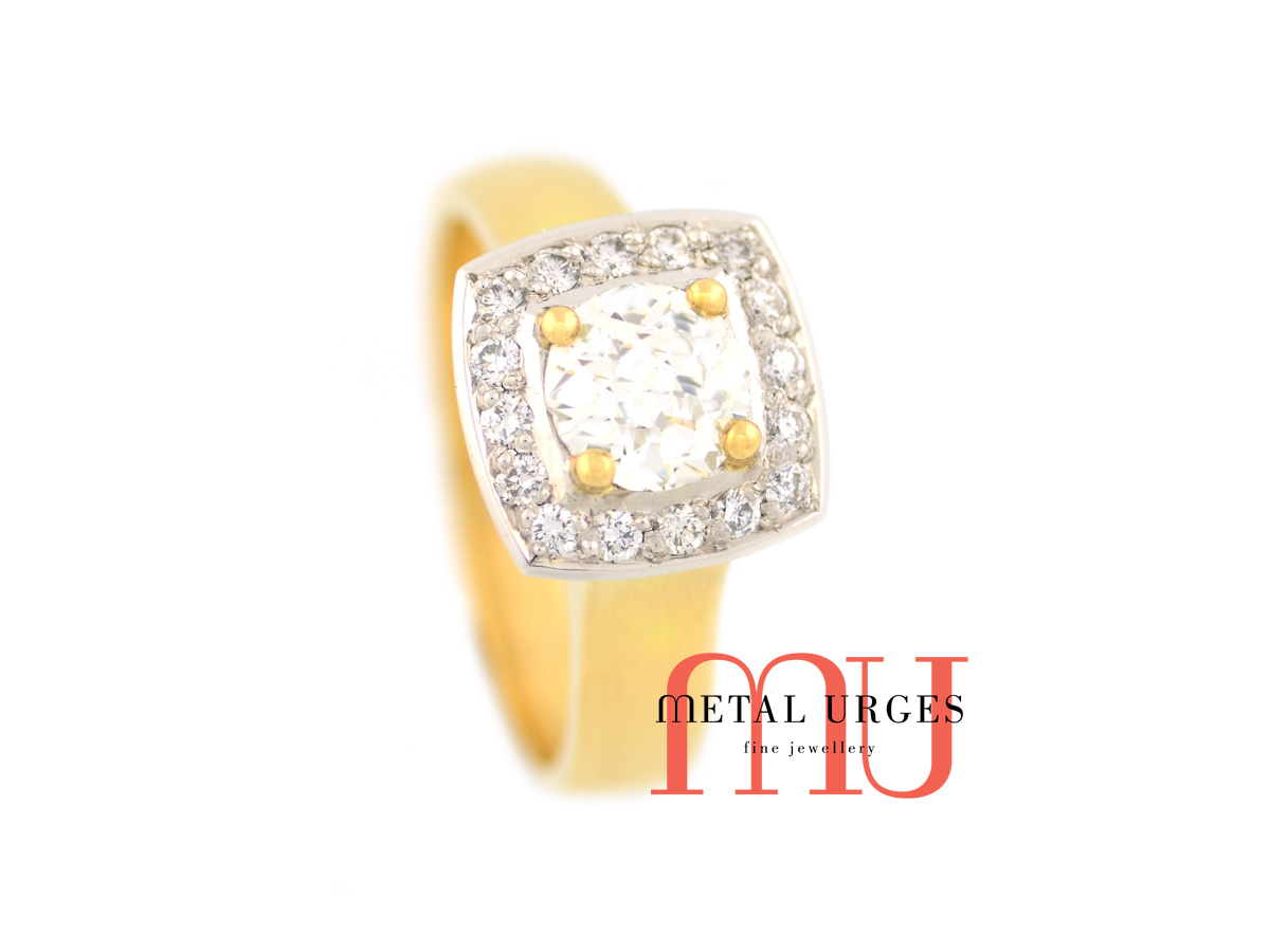 Vintage round brilliant cut white diamond ring, in 18ct yellow and white gold. Custom made in Australia.