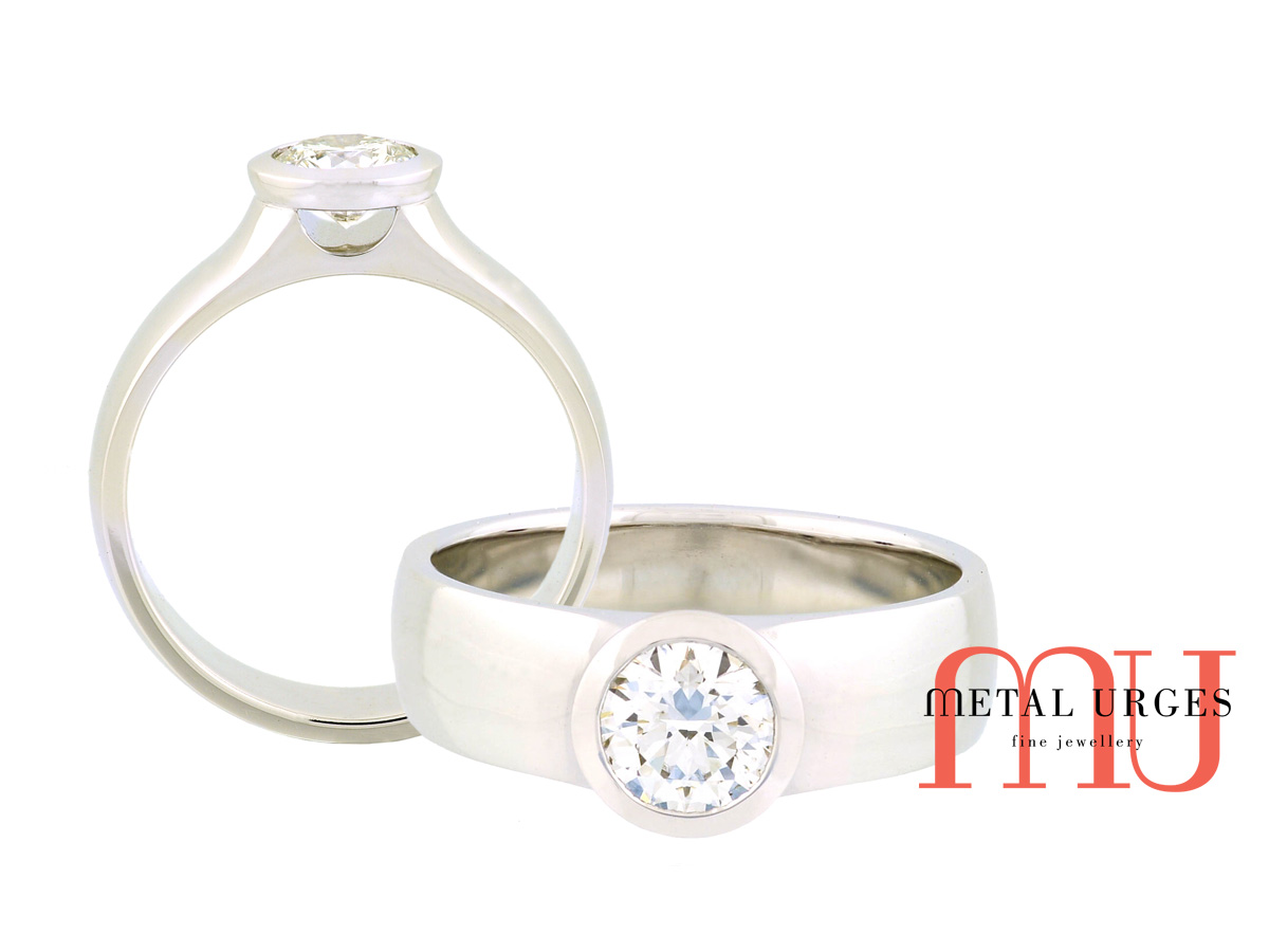 1ct round brilliant cut white diamond ring in 18ct white gold. Custom made in Australia.