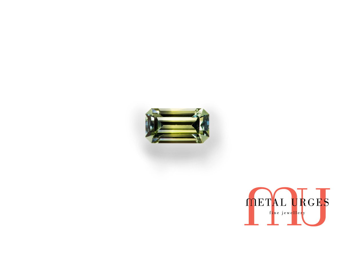 Baguette cut green and yellow parti sapphire