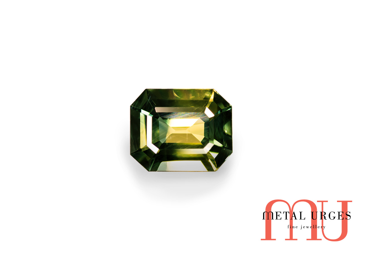 Yellow and green parti sapphire radiant cut