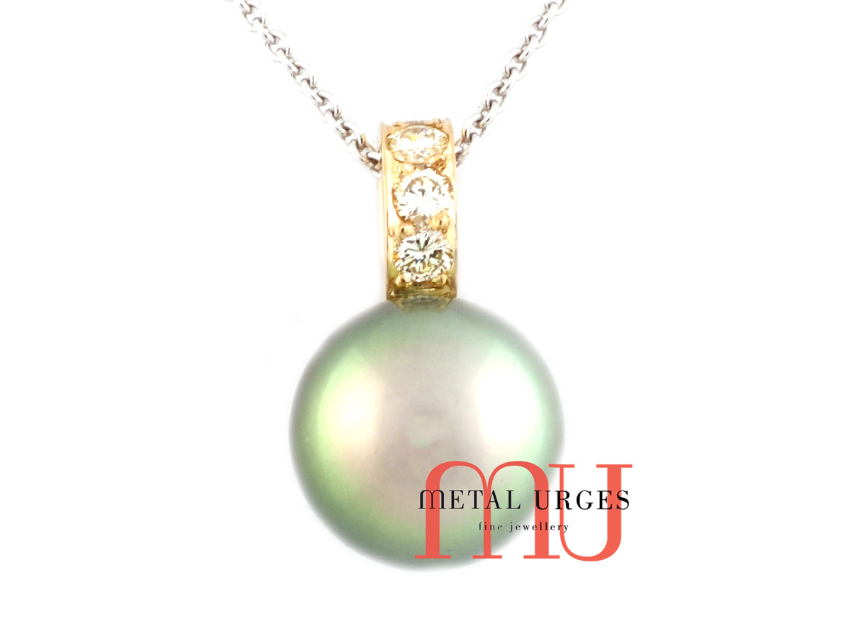 Jewellers Hobart, Green pearl and white diamond pendant in 18ct white and yellow gold. Custom made in Tasmania, Australia.