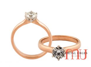 Round brilliant cut white diamond set with six claws into an 18ct rose gold band