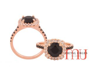 Black spinel claw set with white diamonds in 18ct rose gold ring